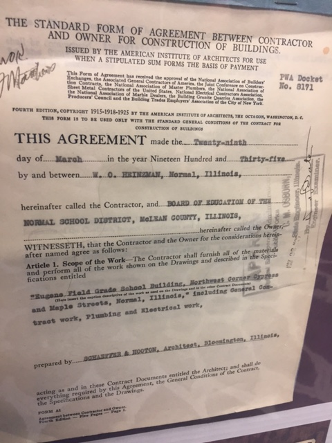 Copy of the contract to build Eugene Field.