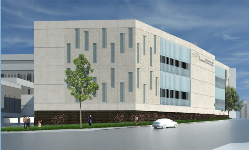 This is an architect's rendering of the jail addition from the southeast.