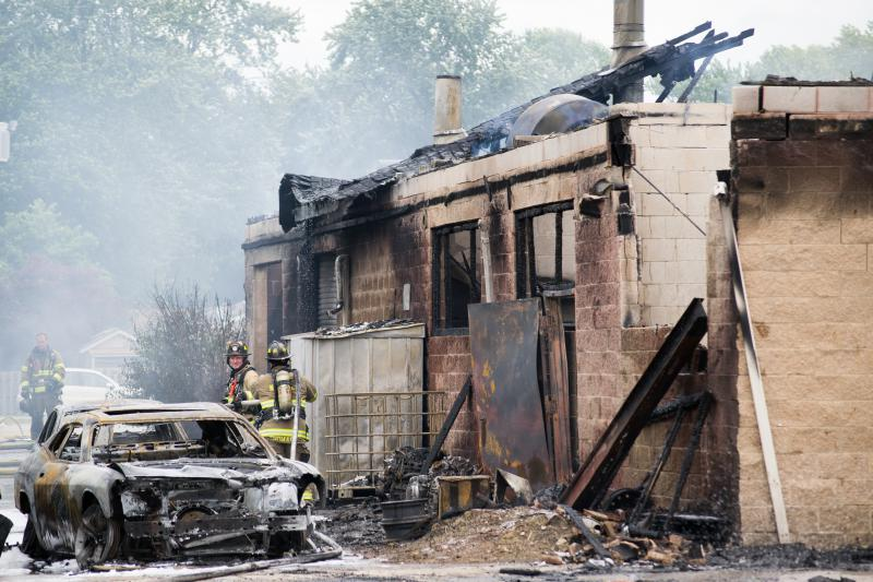 The north side of the building suffers much of the damage.