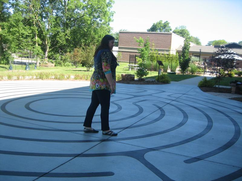 One of the features of the Community Cancer Center Garden is a large labyrinth for walking meditation.