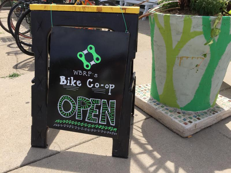 The sign out side the WBRP Bike Co-op.