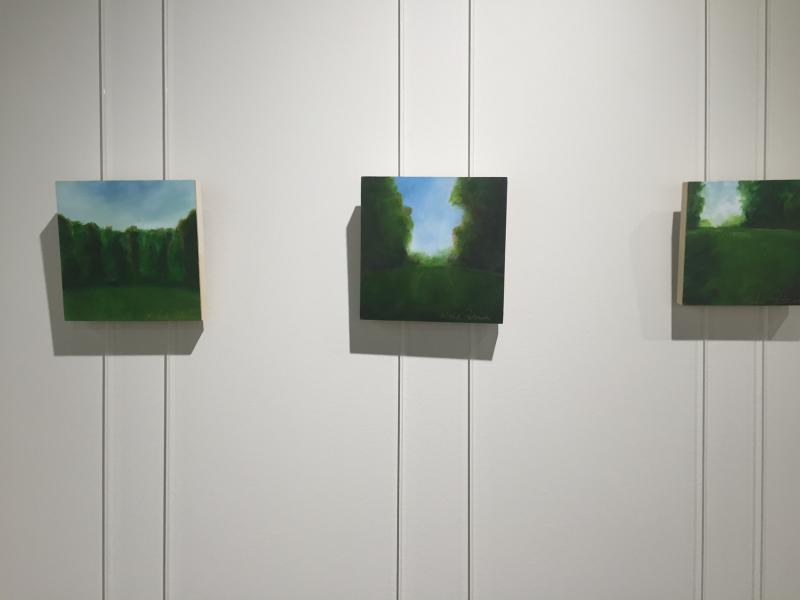 Peterson works on canvas and also on wood panels, as seen here.