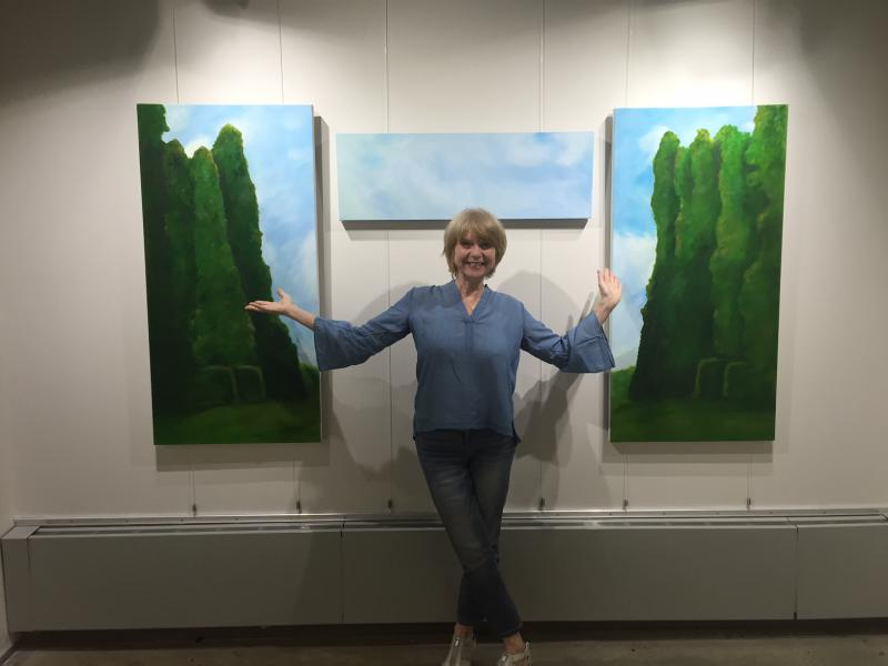 Artist Michele Peterson and her works.