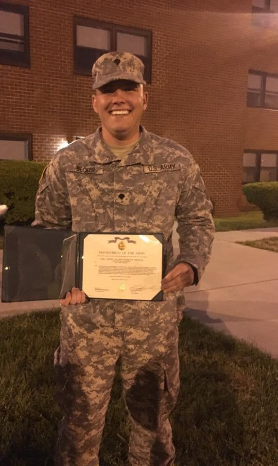 In May, Jordan Becker received an Achievement Award and medal for his contributions to his Army Reserve unit.