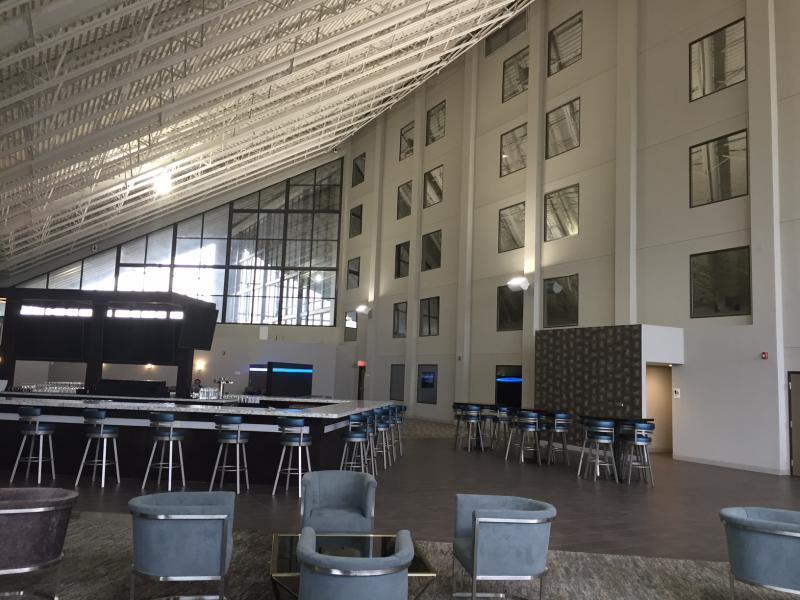 The atrium lobby of the new Radisson.