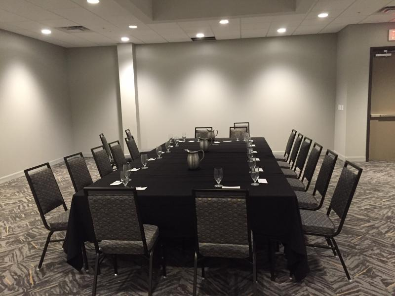 A smaller conference room which is designed with soothing colors.