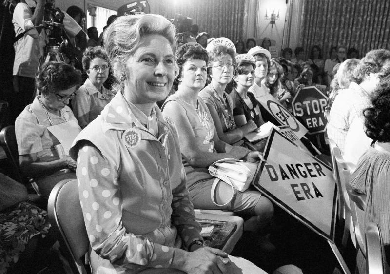 Phyllis Schlafly, foreground, of Alton, IL led a national effort to defeat the ERA in the 1970s. Schlafly died in 2016.