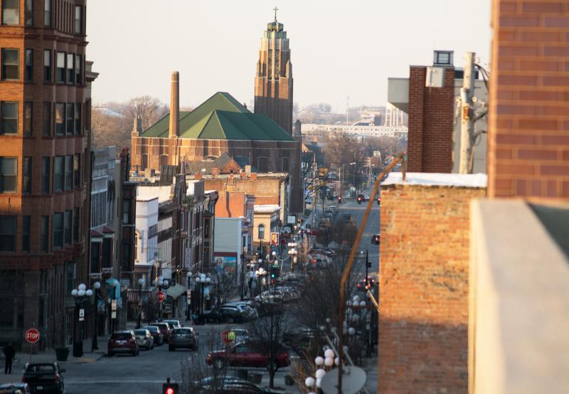 Looking north through downtown Bloomington.