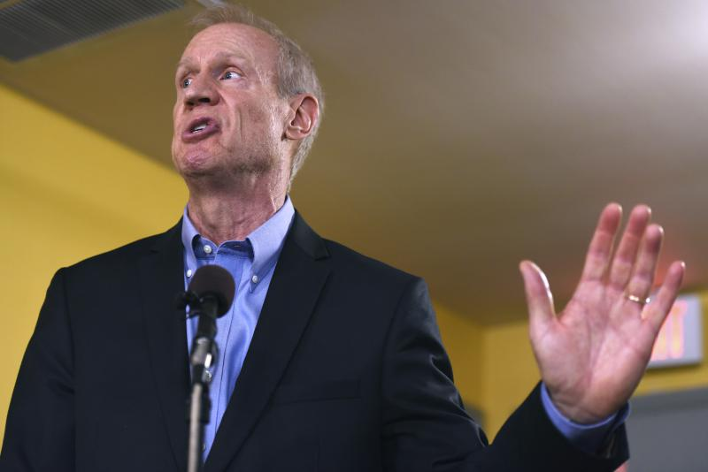 Gov. Bruce Rauner speaks during a news conference in Chicago.