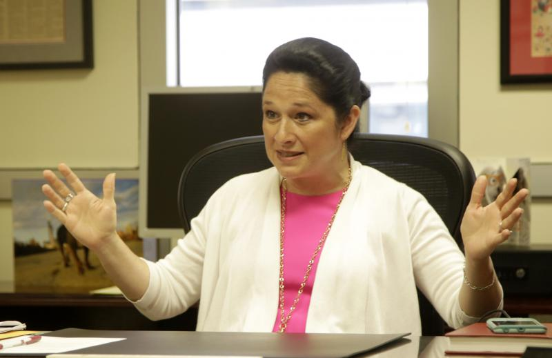 Illinois Comptroller Susana Mendoza, Illinois, responds to a reporter's question during an interview in here office about the state budget in Chicago.
