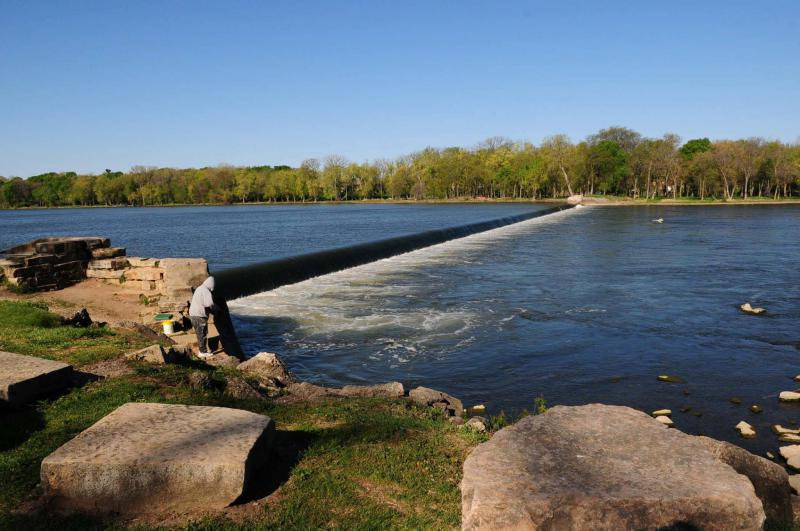 The Wilmington dam on the Kankakee River.