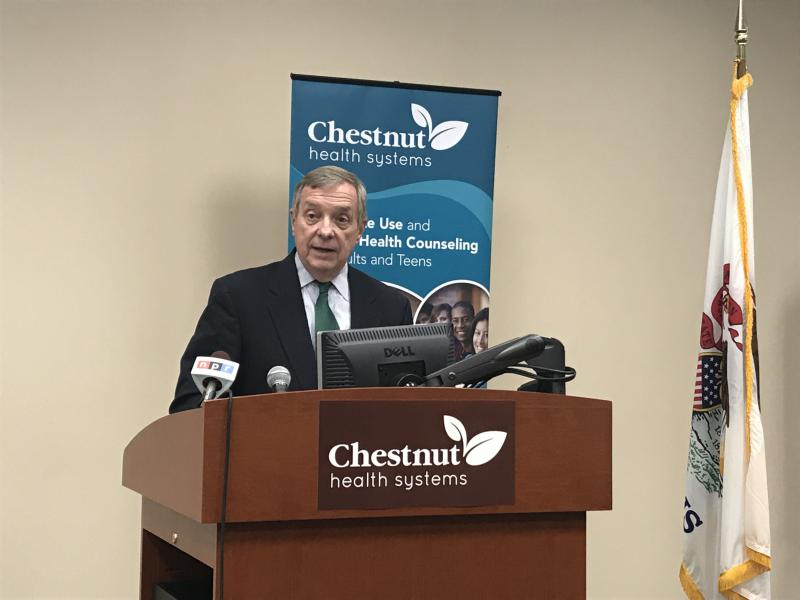 U.S. Sen. Dick Durbin, D-Ill., took questions from reporters about remarks by GOP leaders trying to spread blame over violence in Charlottesville, Virginia.
