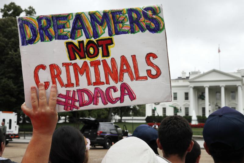 Supporters of extending the Obama Administration Deferred Action for Childhood Arrivals executive order demonstrate in front of the White House earlier this month.