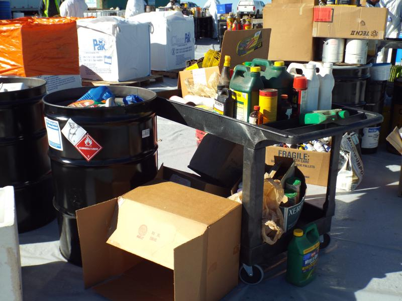 A collection of Household Hazardous Waste awaiting disposal.