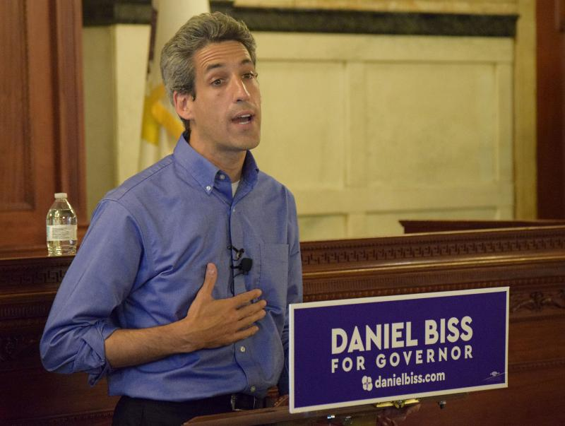 State Sen. Daniel Biss, a Democratic candidate for governor, speaks Wednesday, Aug. 23, 2017, at the McLean County Museum of History in downtown Bloomington.