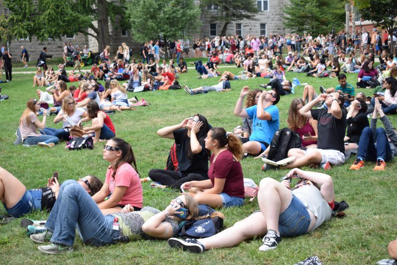 Students pack ISU's Quad for the eclipse on Monday, Aug. 21, 2017.