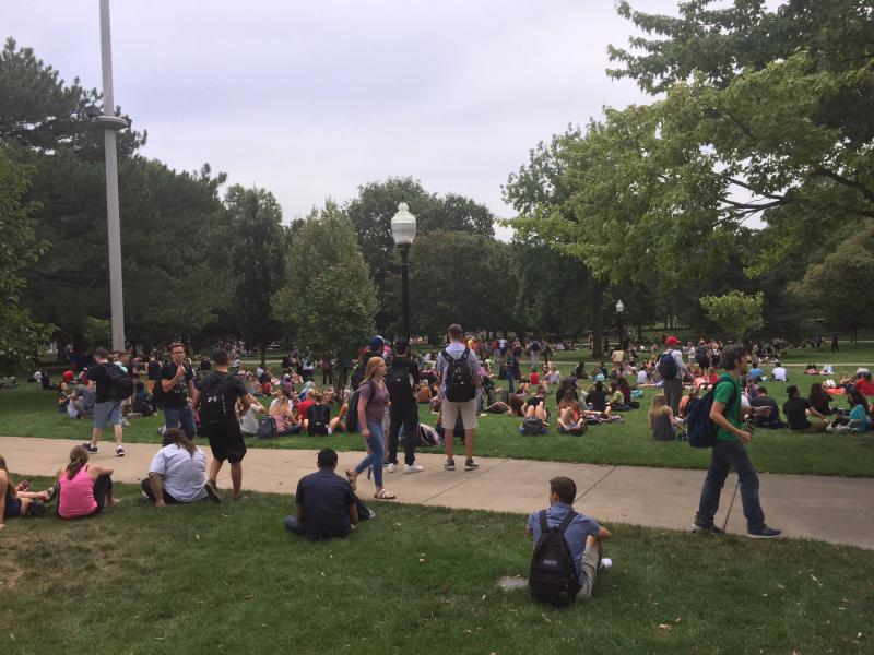A large crowd gathers on ISU's Quad to view the eclipse on Monday, Aug. 21, 2017.