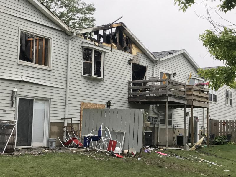 Diana McLaren-Osburne's condo unit on Hunt Drive is seen badly damaged Sunday morning, Aug. 6, 2017.