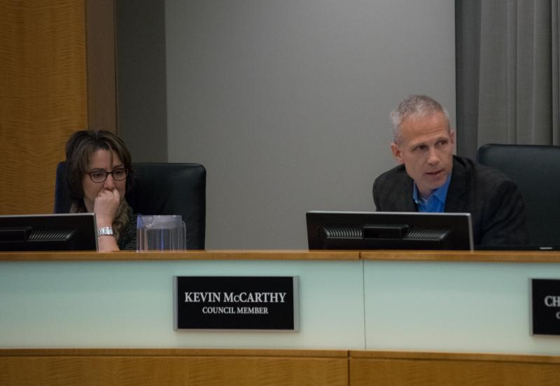 Normal Town Council members Kathleen Lorenz and Kevin McCarthy.