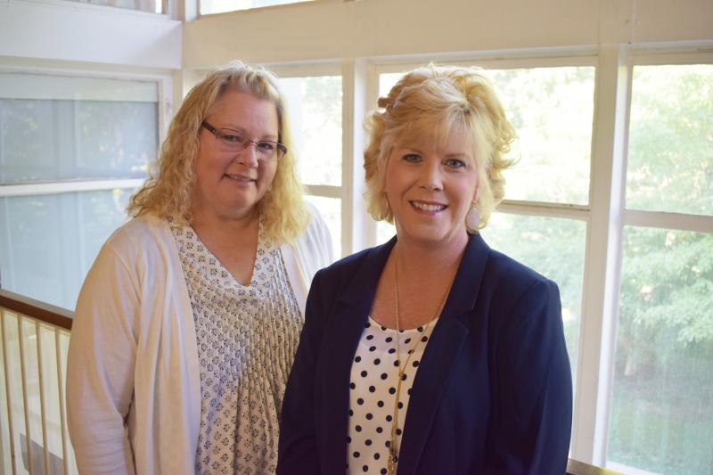 Joan Hartman from Chestnut Health Systems, left, with McLean County Coroner Kathy Davis.