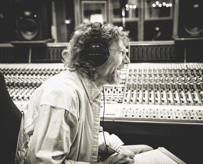 Sam Bush in the recording studio