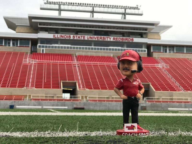 The Brock Spack bobblehead, on the field at Hancock Stadium.