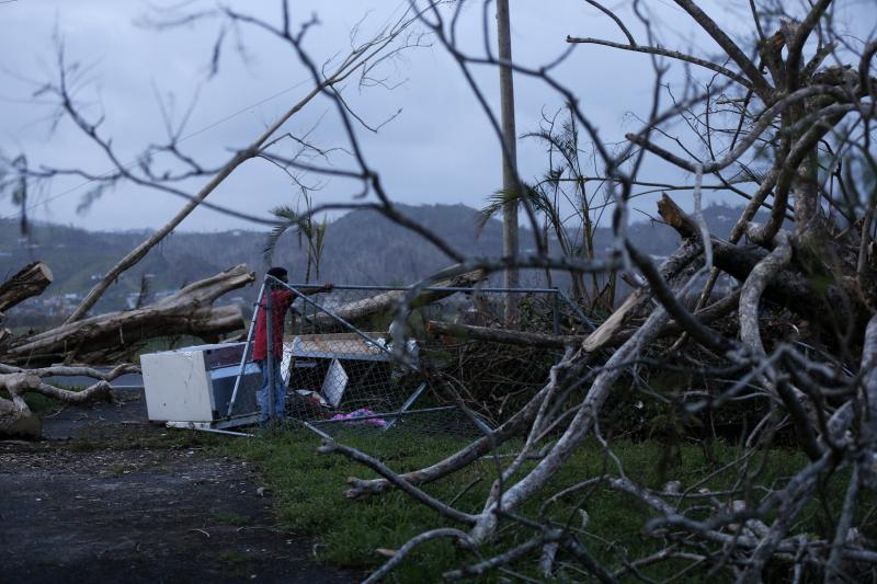 Downed trees and electrical wires and a smashed home in the town of Yabucoa. Aid to rural areas like this have been hampered by blocked and destroyed roads.