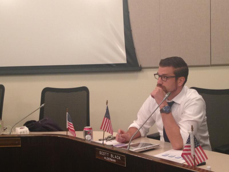 Alderman Scott Black at Monday's Bloomington City Council meeting.