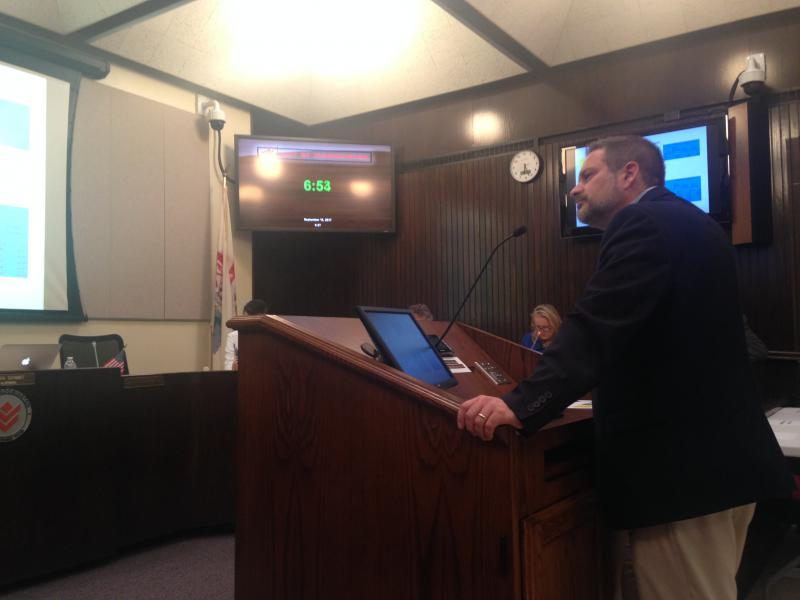 Bloomington Public Works Director Jim Karch speaks to the Bloomington City Council concerning issues with the city's underground infrastructure.