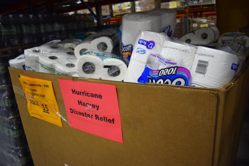 Relief supplies in boxes at the Midwest Food Bank in north Normal