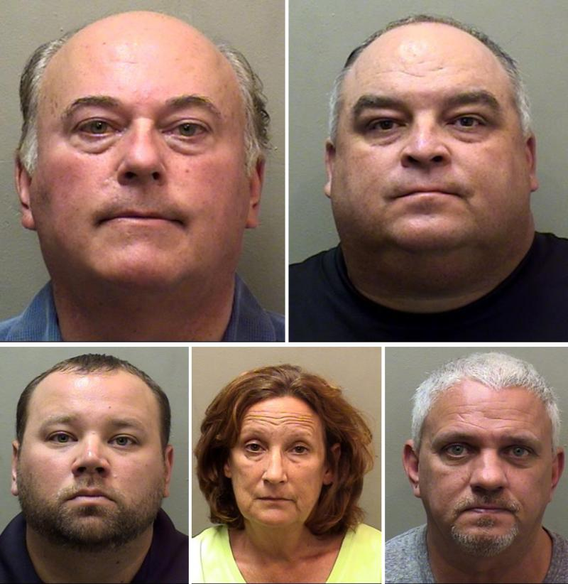 The five people charged include, clockwise from top left, John Butler, Bart Rogers, Paul Grazar, Kelly Klein, and Jay Laesch.