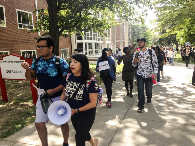 Illinois State University students rally on the Quad on Tuesday, Sept. 5, 2017, in support of young immigrants.