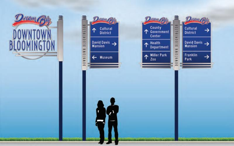 Different sign designs proposed for Downtown Bloomington to provide direction to visitors.