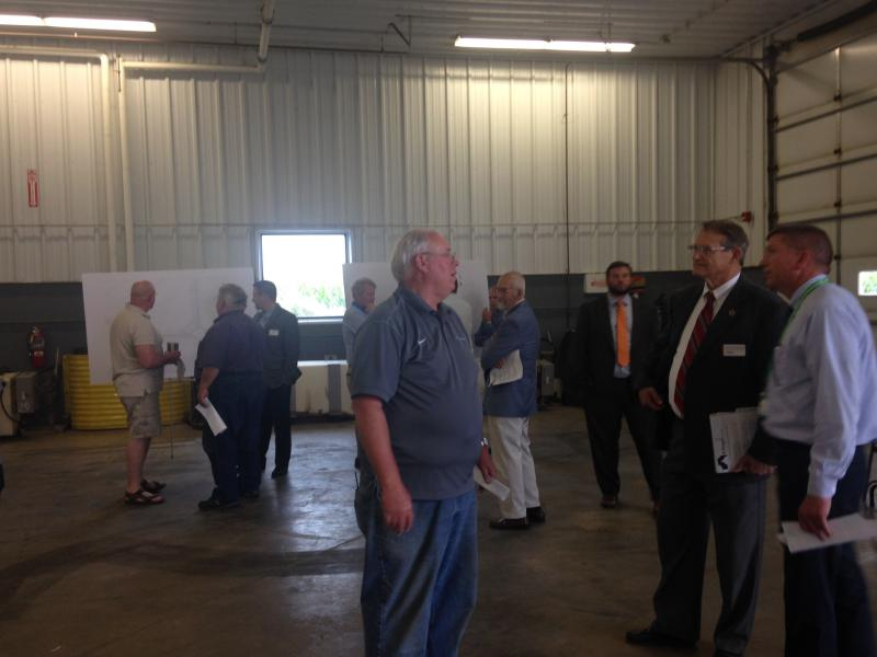 McLean County and City of Bloomington officials meet constituents at the county highway department's South Garage for an open house on a proposal for the intersection of Towanda Barnes and Ireland Grove roads.