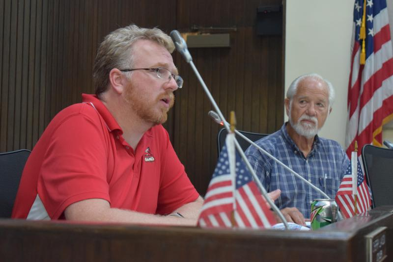 Downtown Bloomington Task Force members Jamie Mathy, left, and Joe Haney during a meeting Tuesday, Sept. 26, 2017.
