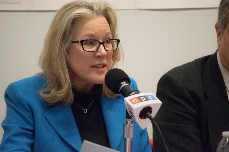 Alderman Kim Bray during a GLT candidates forum before her election last spring.