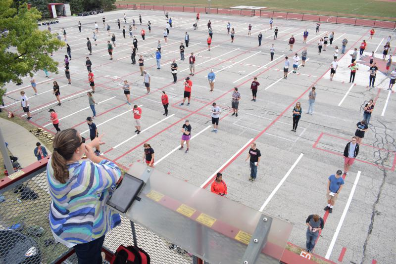 Director Polly Middleton looks over the Big Red Marching Machine during a rehearsal Wednesday, Sept. 27, 2017, at Illinois State University.