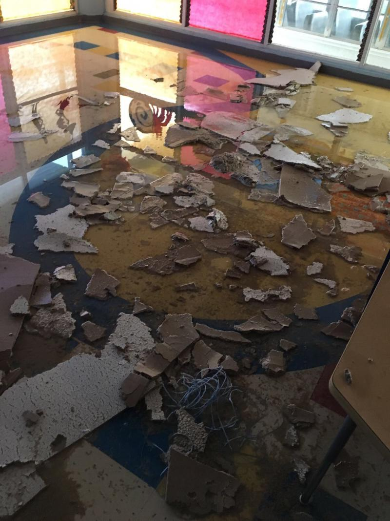 Damage to the inside of a school in San Juan where the sister of Illinois Wesleyan Professor Daynali-Flores Rodriguez worked.
