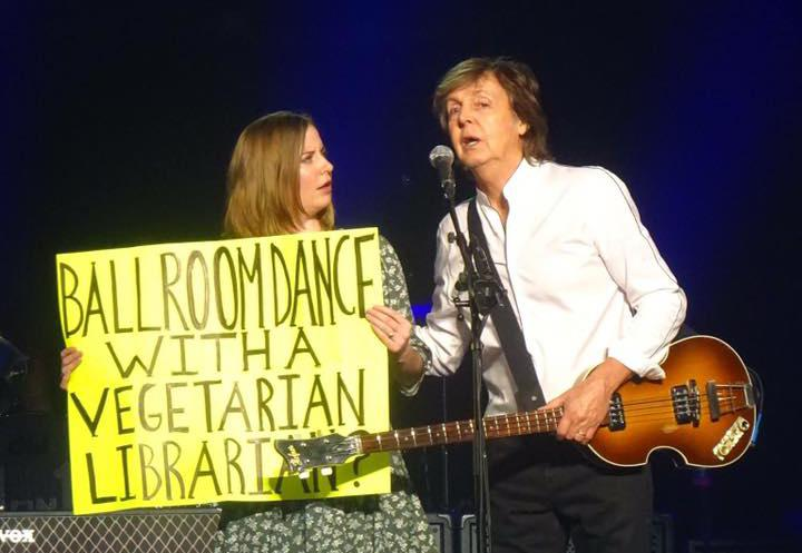 Sarah Lindenbaum of Bloomington on stage this week with Paul McCartney in Newark, New Jersey.