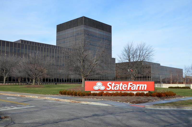 State Farm headquarters building in Bloomington.