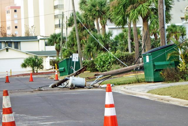 Snapped power pole next to the Stocktons' condo complex in Florida.