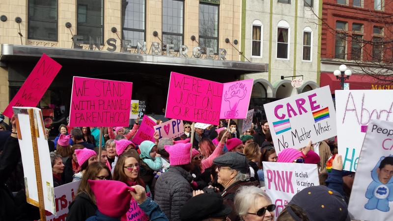 A rally in support of reproductive rights earlier this year in downtown Bloomington