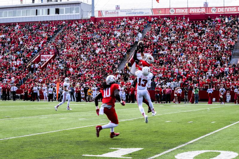 The Redbird football team won a 37-21 victory over the Coyotes on Saturday, Oct. 21, 2017, on Homecoming in front of 12,113 fans at Hancock Stadium.