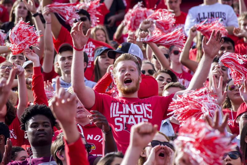 Redbird fans at the ISU Homecoming game on Saturday, Oct. 21, 2017.