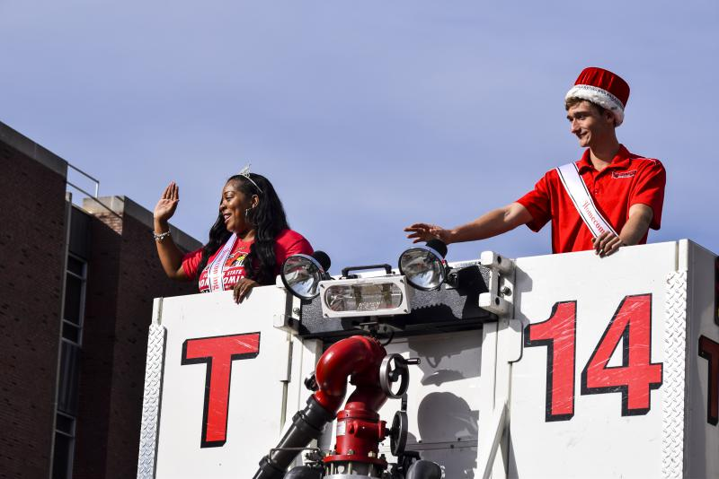 Connor Ehnle (Homecoming King) and Mariah Moran (Queen) during the ISU Homecoming parade on Saturday, Oct. 21, 2017.