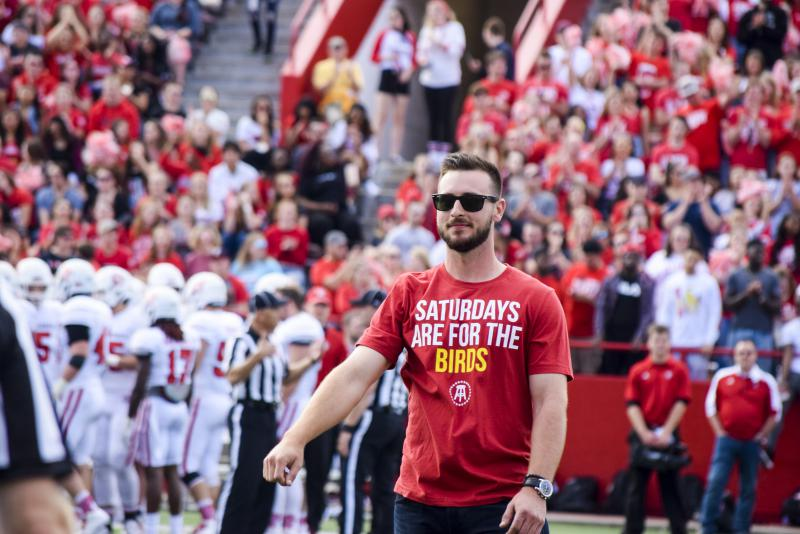 Former Redbird baseball player Paul DeJong, now with the St. Louis Cardinals, was recognized during the Homecoming football game.
