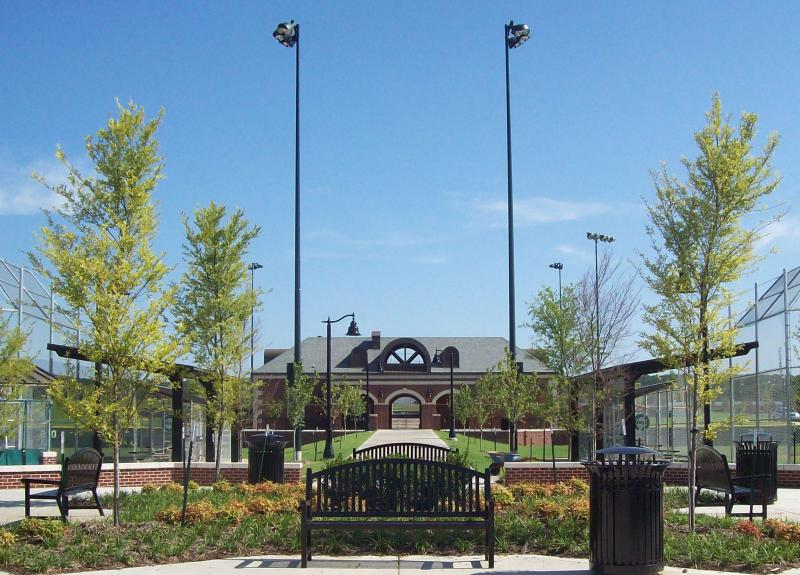 Front of a baseball/softball complex