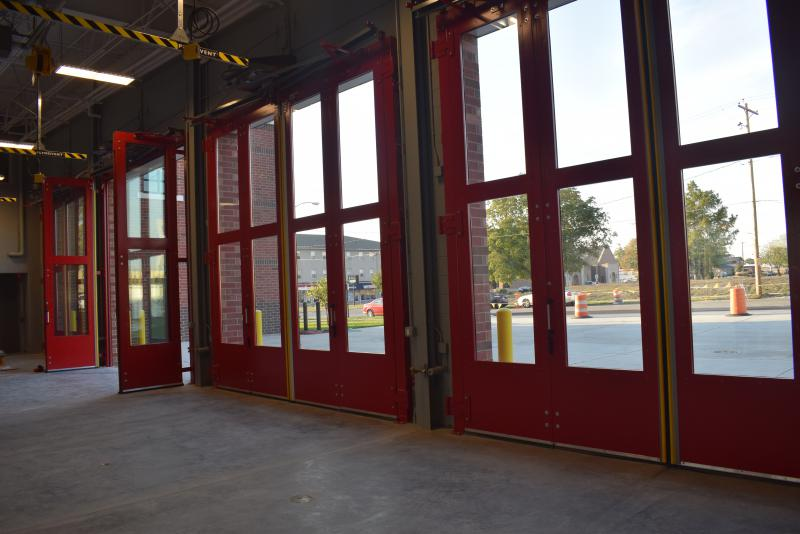 The doors at the new Normal Fire Department headquarters station on Main Street.