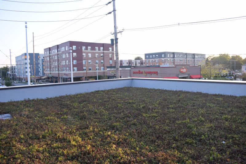 The rooftop overlooking Main Street at the new Normal Fire Department headquarters station.