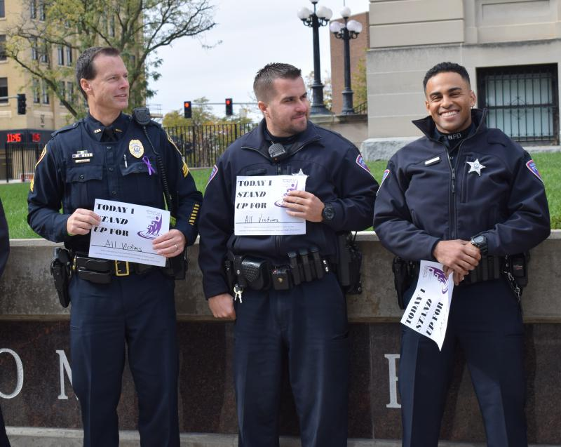 Bloomington Police officers at the domestic violence rally Monday, Oct. 30, 2017, in downtown Bloomington.